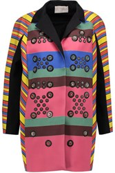 Peter Pilotto Hendrix Embellished Striped Crepe Coat Pink