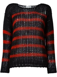 Saint Laurent Striped Open Knit Sweater Black