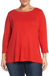 Sejour Plus Size Women's Ballet Neck Tee Red Mars