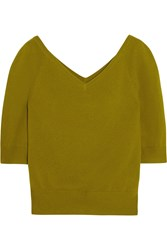 Michael Kors Cropped Cashmere Top Green