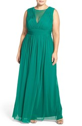 Marina Plus Size Women's Illusion V Neck Sleeveless Gown Dark Green
