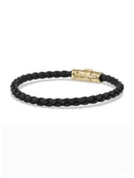 David Yurman 18K Yellow Gold And Chevron Woven Rubber Bracelet Black Gold