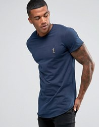 Religion T Shirt With Curved Hem And Blanket Stitch Detail Navy