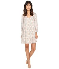 Brigitte Bailey Adiva Geo Print Long Sleeve Dress Tan Multi Women's Dress