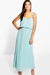 Boohoo Pleated Double Layer Strappy Maxi Dress Blue