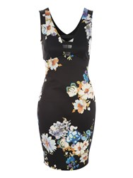 Jane Norman Black Floral Printed Ladder Front Dress
