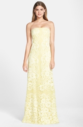 Erin Fetherston Lace Strapless A Line Gown Lemongrass