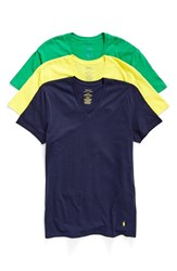 Polo Ralph Lauren Men's V Neck T Shirt Lemon Crush Stem Navy