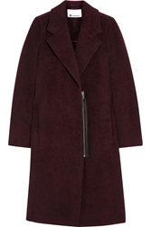 Alexander Wang Leather Trimmed Wool And Alpaca Blend Coat Red
