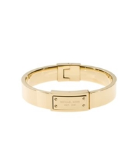 Michael Kors Gold Tone Engraved Plaque Bangle