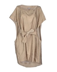 Uniqueness Short Dresses Beige