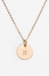 Women's Nashelle 14K Rose Gold Fill Initial Mini Disc Necklace 14K Rose Gold Fill M