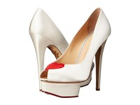 Charlotte Olympia Delphine White Red Silk Satin High Heels