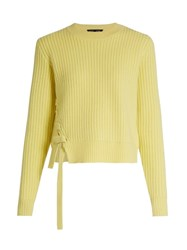 Proenza Schouler Lace Up Panel Wool And Cashmere Blend Sweater Yellow