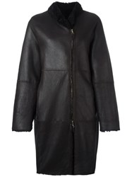 Iris Von Arnim Off Centre Zip Coat Black