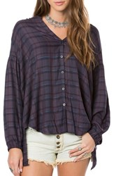 O'neill Women's Marilyn Plaid High Low Blouse