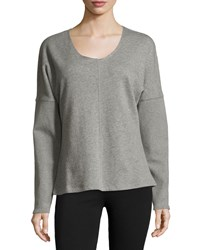 Yummie Tummie Long Sleeve Drop Shoulder Top Heathered Castlerock