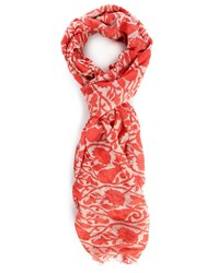 Closed Red Paisley Printed Modal Cotton Scarf