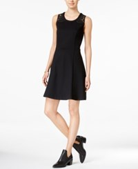 Maison Jules Lace Inset Fit And Flare Dress Only At Macy's Deep Black