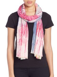 Tilo Paint Brush Cotton And Modal Scarf Pink Multi