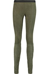 Theory Ima Stretch Suede Leggings Green
