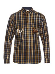 Gucci Bee Embroidered Brushed Cotton Checked Shirt