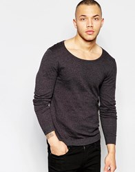 Asos Scoop Neck Sweater In Charcoal Cotton Charcoal Black T