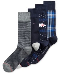 Tommy Hilfiger Men's 4 Pk. Dress Socks Polar Bear Navy Grey