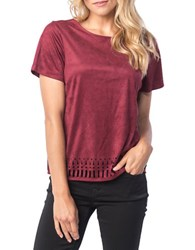 Kensie Faux Suede Cutout Tee Red