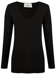 Egrey V Neck Knit Blouse Black