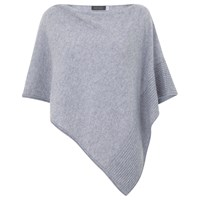 Hygge By Mint Velvet Cashmere Poncho Silver Grey