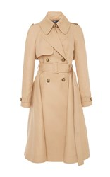 Paule Ka Cotton Trench Coat With Self Belt Tan