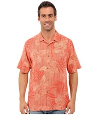 Tommy Bahama Riviera Raffia Short Sleeve Red Earth Men's Clothing Brown