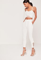 Missguided White Eyelet Lace Up Hem Cigarette Trousers White