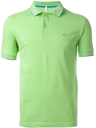 Sun 68 Collar And Sleeve Trim Detail 'Small Righe' Polo Shirt Green