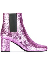 Saint Laurent 'Babies 90' Ankle Boots Pink And Purple