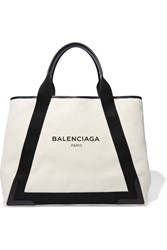 Balenciaga Leather Trimmed Canvas Tote