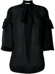 Givenchy Sheer Pussy Bow Blouse Black