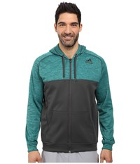 Adidas Team Issue Fleece Full Zip Hoodie Block Eqt Green Dgh Solid Grey Men's Sweatshirt