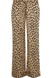 Kate Moss For Equipment Avery Leopard Print Washed Silk Pajama Pants Leopard Print Neutral