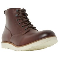 Dune Conrad Wedge Sole Lace Up Leather Boots Burgundy