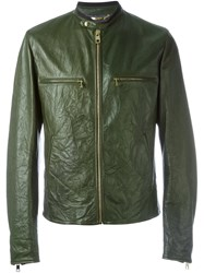 Dolce And Gabbana Creased Leather Jacket Green