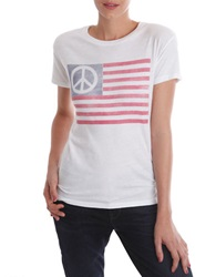 Lucky Brand Peace Flag Graphic T Shirt White