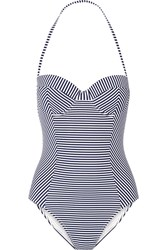 Tory Burch Striped Swimsuit Navy