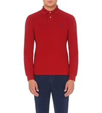 Ralph Lauren Custom Fit Cotton Pique Polo Shirt Avenue Red