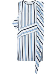 Msgm Striped Panel Shift Dress White