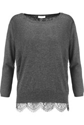 Joie Hilano Lace Trimmed Knitted Sweater Dark Gray