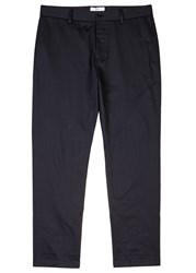 Oamc Navy Dropped Crotch Cotton Twill Chinos