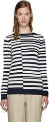 Loewe Navy And White Striped Sweater