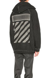 Off White Fit Over Hoodie In Black Gray Black Gray